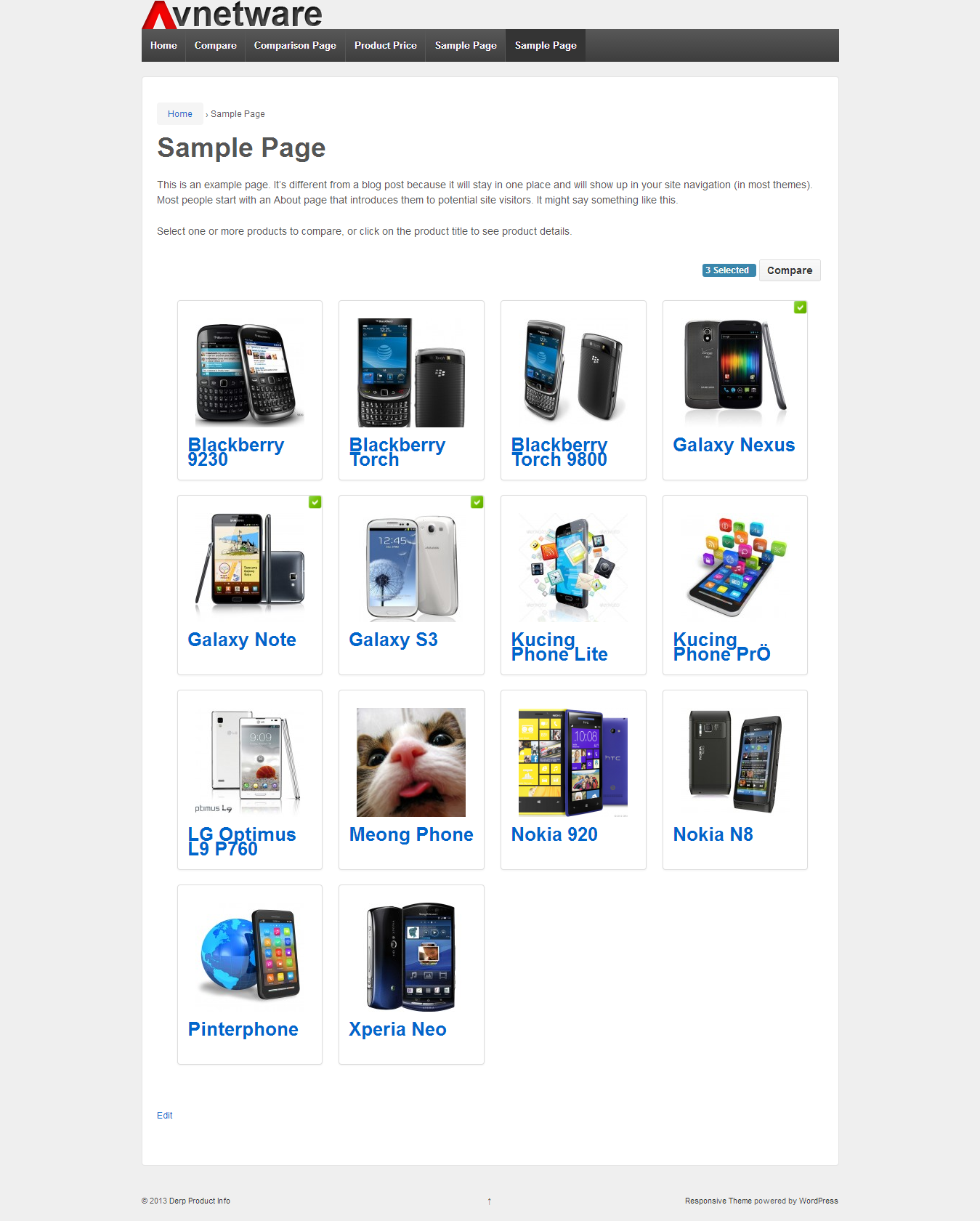 Product list with thumbnails